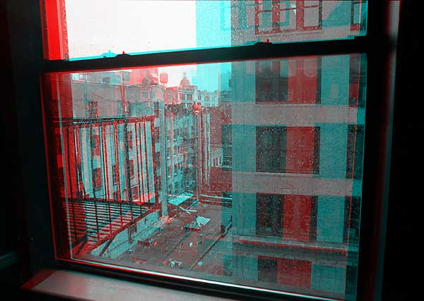 Rainy Window, 1993, stereo photo by Fred Hatt