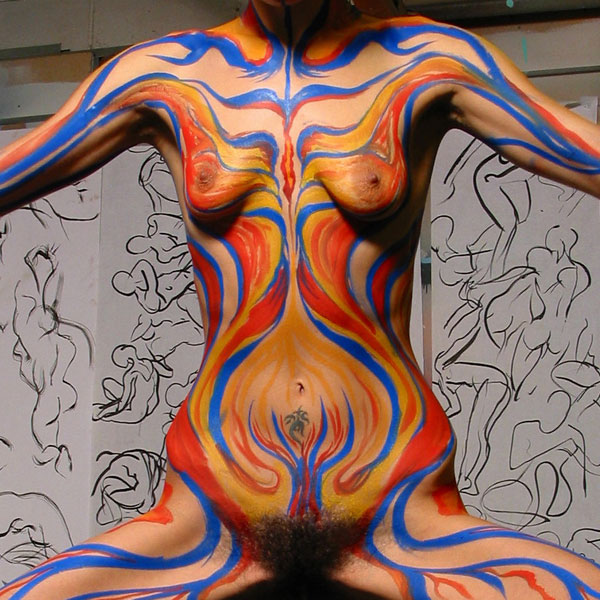 Power Stance, 2003, bodypaint and photo by Fred Hatt
