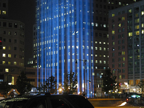 Tribute in Light, September, 2003, photo by Fred Hatt