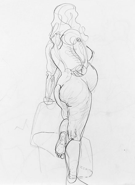 Shifra pregnant pencil sketch 05, 2007, by Fred Hatt