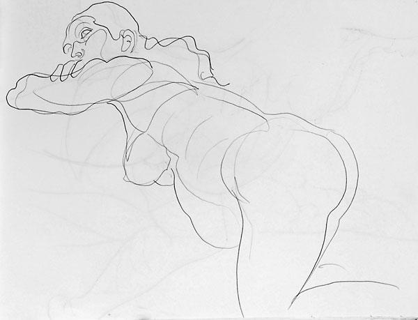 Shifra pregnant pencil sketch 01, 2007, by Fred Hatt