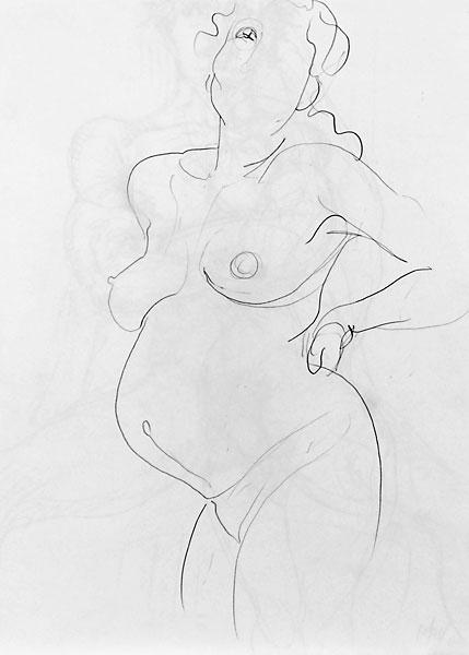 Shifra pregnant pencil sketch 02, 2007, by Fred Hatt