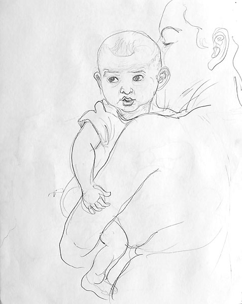 SG and child pencil sketch 03, 2008, by Fred Hatt