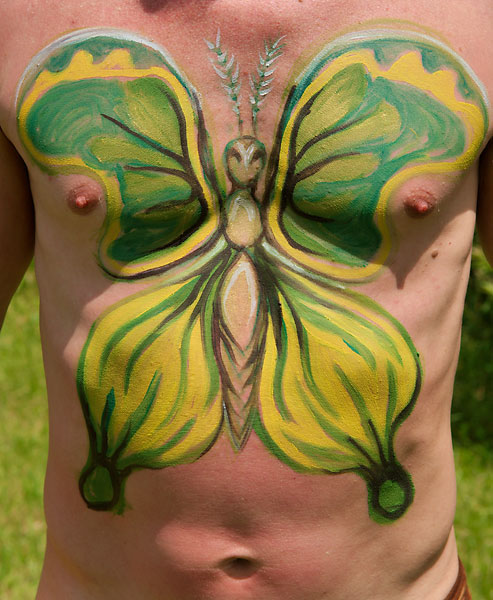 Green Moth, 2009, bodypaint and photo by Fred Hatt