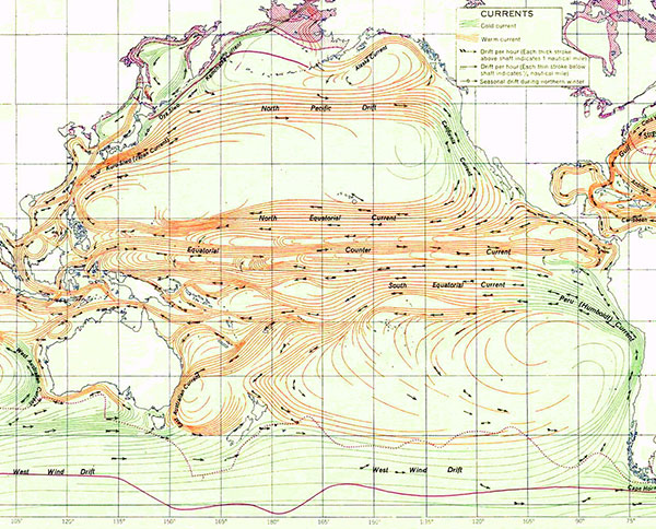 Currents of the Pacific, warm currents in orange, cold currents in green, original source of map unknown