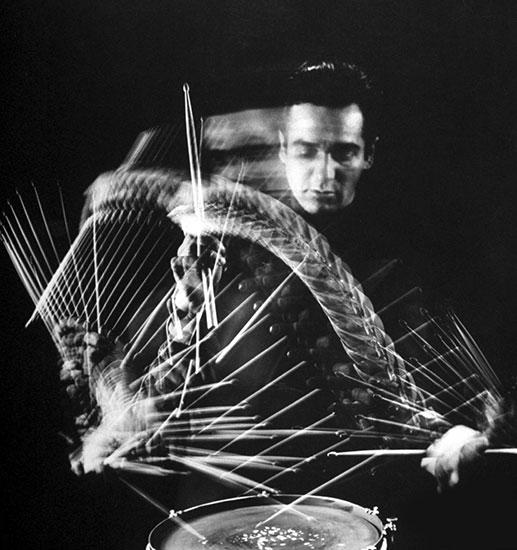 Gene Krupa Playing a Drum, 1941, photo by Gjon Mili