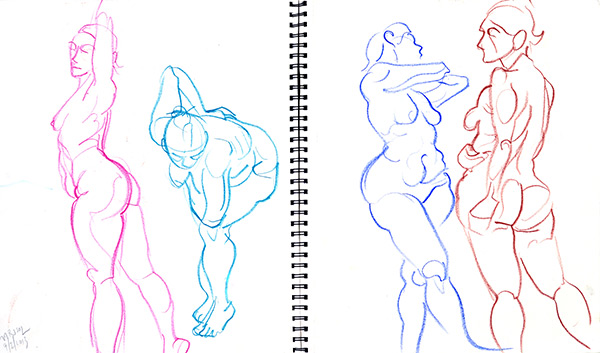 Marisol quick poses, 2013, by Fred Hatt
