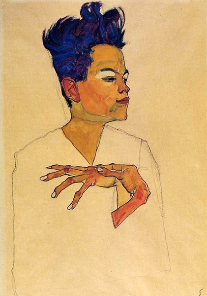 Self Portrait with Hands on Chest, 1910, by Egon Schiele