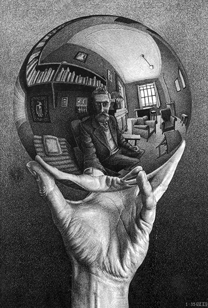 Hand with Reflecting Sphere, 1935, by M. C. Escher