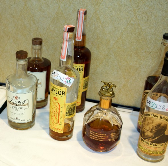 "From left to right: 36, aka 1835 ""Texas made"" bourbon; 37, aka EH Taylor Bottled in Bond; 38, aka Blanton's Gold Edition; and 39, aka Pappy Van Winkle 15-year-old."