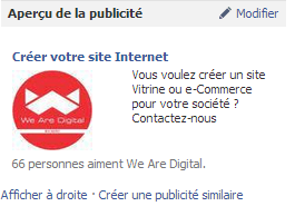 Facebook Ads - Exemple de publicité