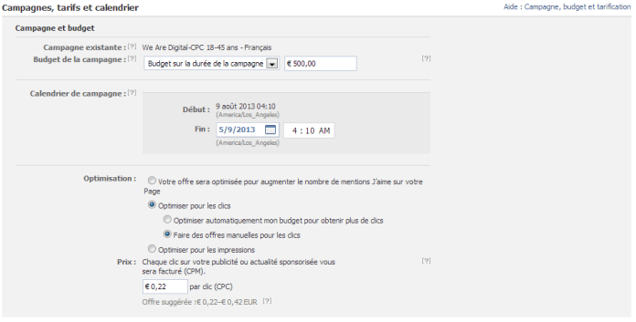 Facebook Ads - Tarification et Calendrier