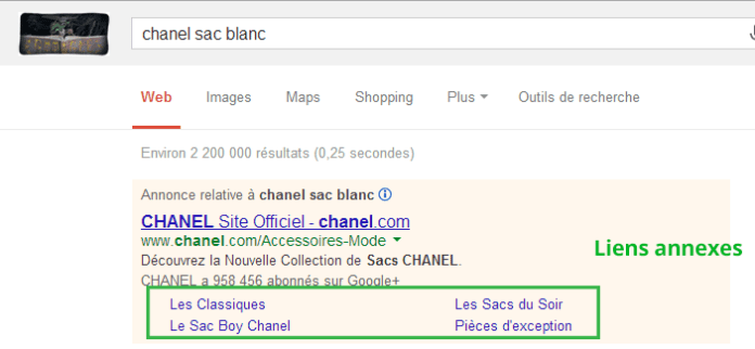 Google-Adwords---Liens-annexes---Chanel