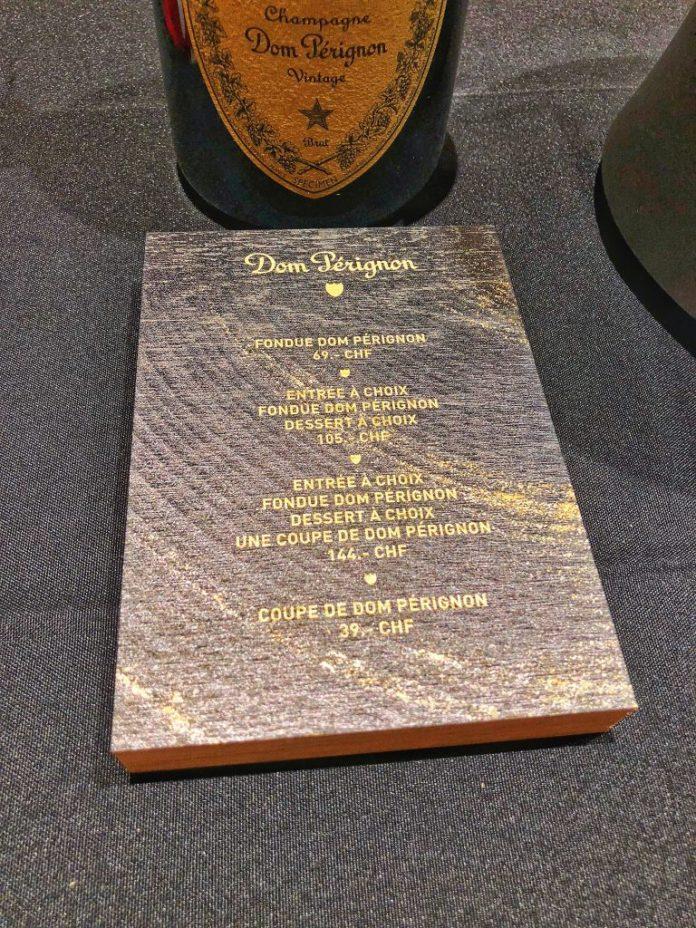 Le Chalet du Royal - Carte fondue Dom Pérignon- Hôtel Royal Savoy Lausanne
