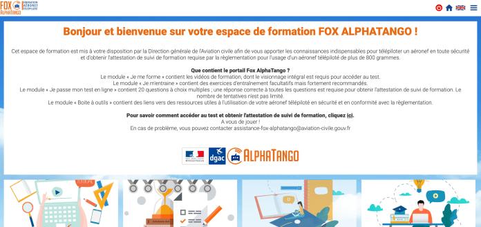Site Fox AlphaTango pour certification pilote de drone