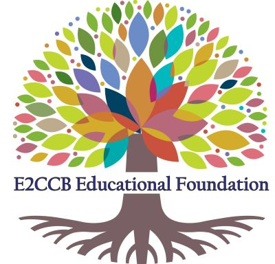 The E2CCB Educational Foundation logo of a large colorful tree with roots.