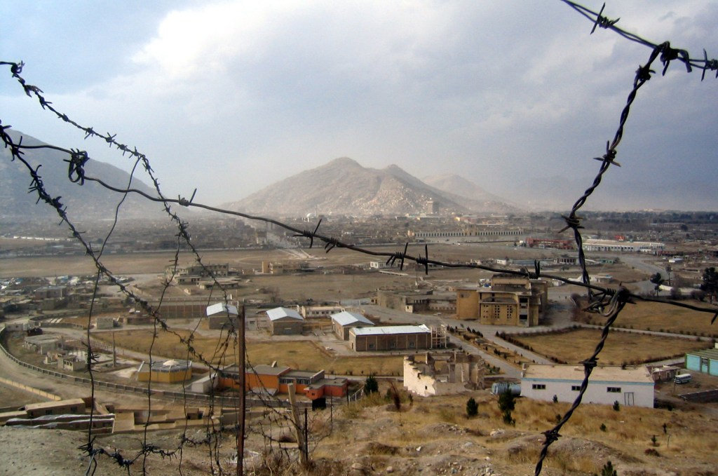 Kabul seen through barbed wires