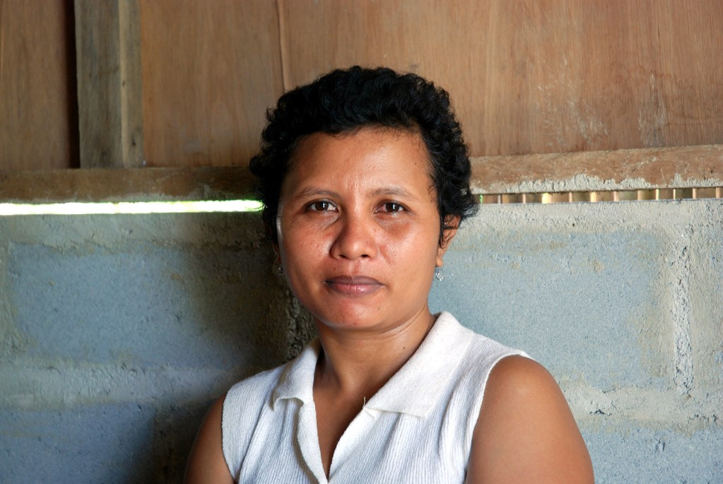 Woman living in the relocation site