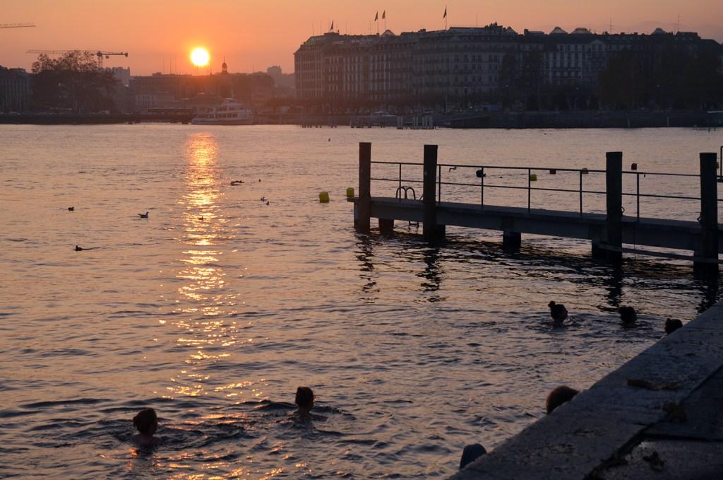 Sunset over Bains des Paquis, Geneva