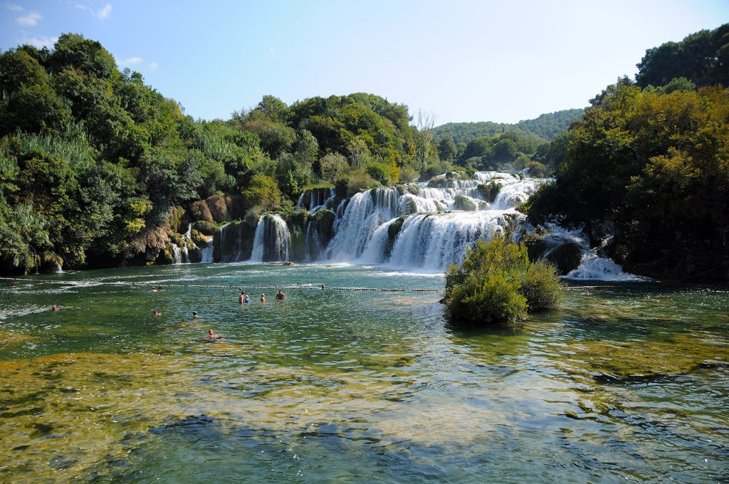 Paople bathing in Krka national parc