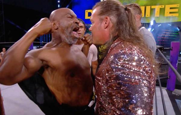 Mike Tyson confronts Chris Jericho on All Elite Wrestling Dynamite.