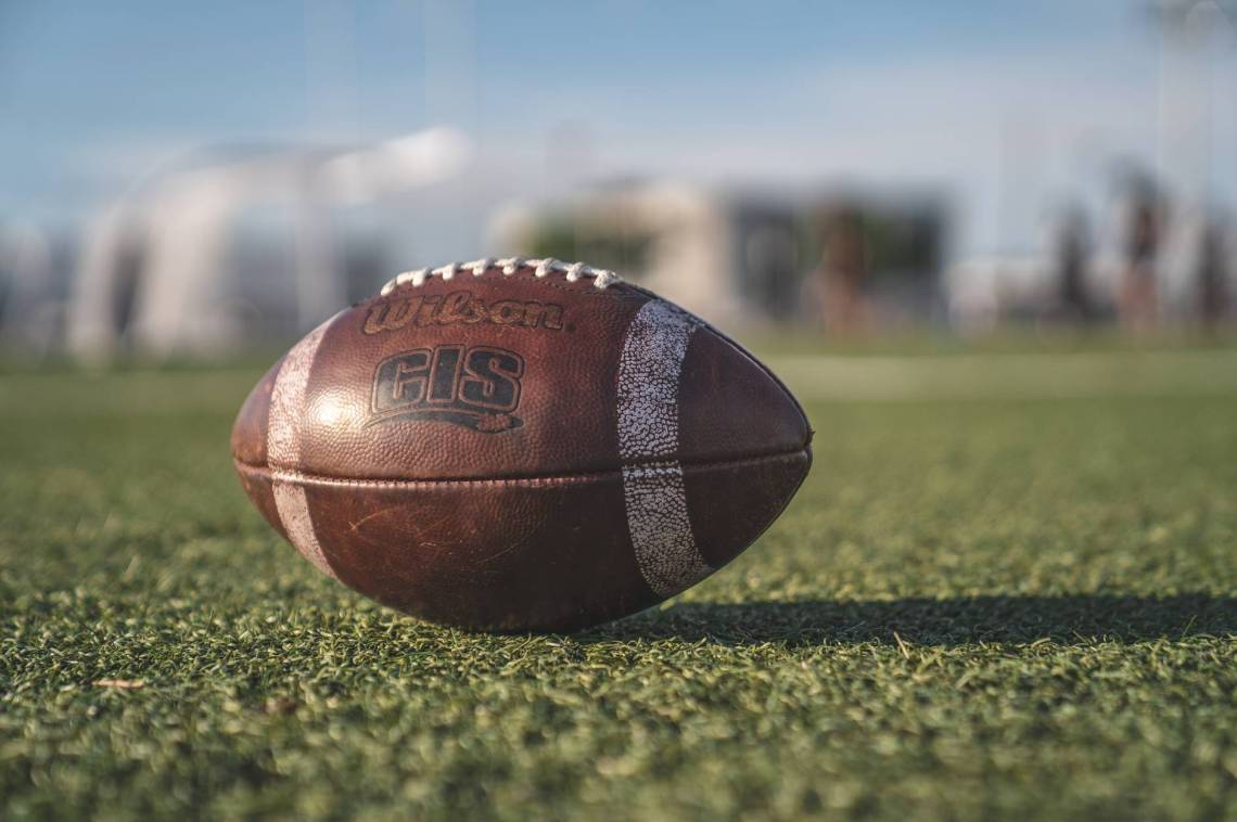 selective focus close up photo of brown wilson pigskin football on green grass