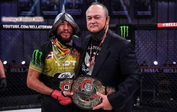 Bellator MMA bantamweight champion Juan Archuleta with company president Scott Coker.