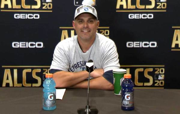 Tampa Bay Rays manager Kevin Cash. Courtesy of MLB Advanced Media and Rays.