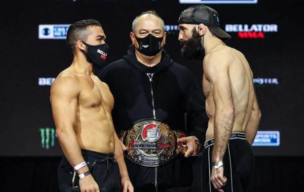 Patricio Pitbull (left), Bellator President Scott Coker (middle), Pedro Carvalho (right). Courtesy of Bellator MMA and BZA PR.
