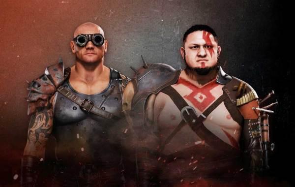 WWE 2K20 Wasteland Wanderers DLC. Courtesy of WWE Games/2K. Pictured: Dave Bautista (Batista) and Samoa Joe.