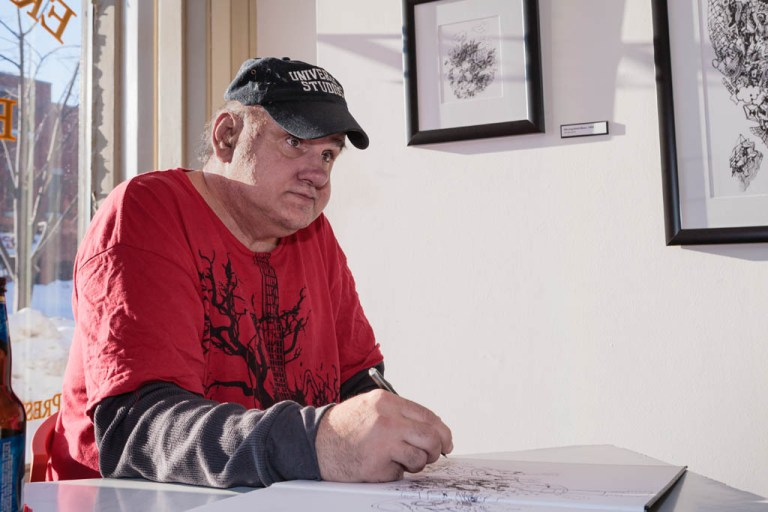 Frank Novel; at his Erie Art Museum exhibition, 2009