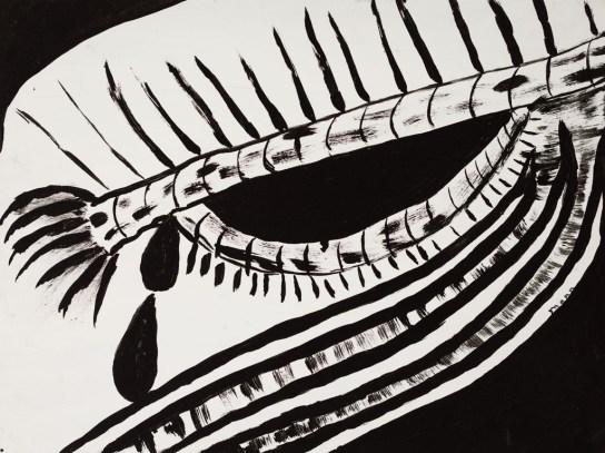 Bird's Eye View (tears from helicoptor, brush as eyelid); 24x32