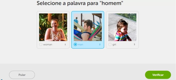 Dentro do curso Duolingo