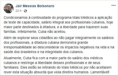 Bolsonaro fala sobre o mais médicos