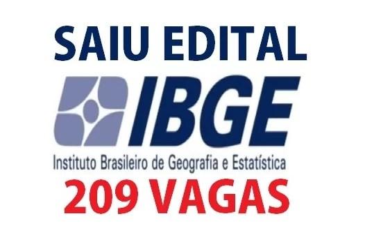 SAIU EDITAL Concurso do IBGE com 209 vagas