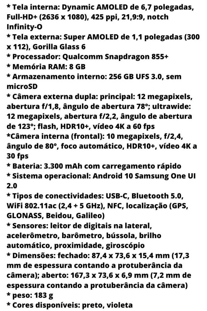 Ficha técnica Galaxy Z Flip