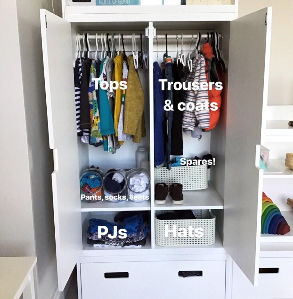 Montessori toddler wardrobe, accessible wardrobe for kids