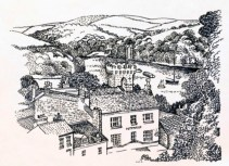 fred yates view of place house pen and ink