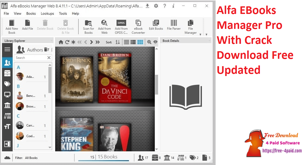 Alfa EBooks Manager Pro With Crack Download Free Updated