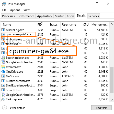 cpuminer-gw64 exe CPU Miner (removal instructions)  - Free