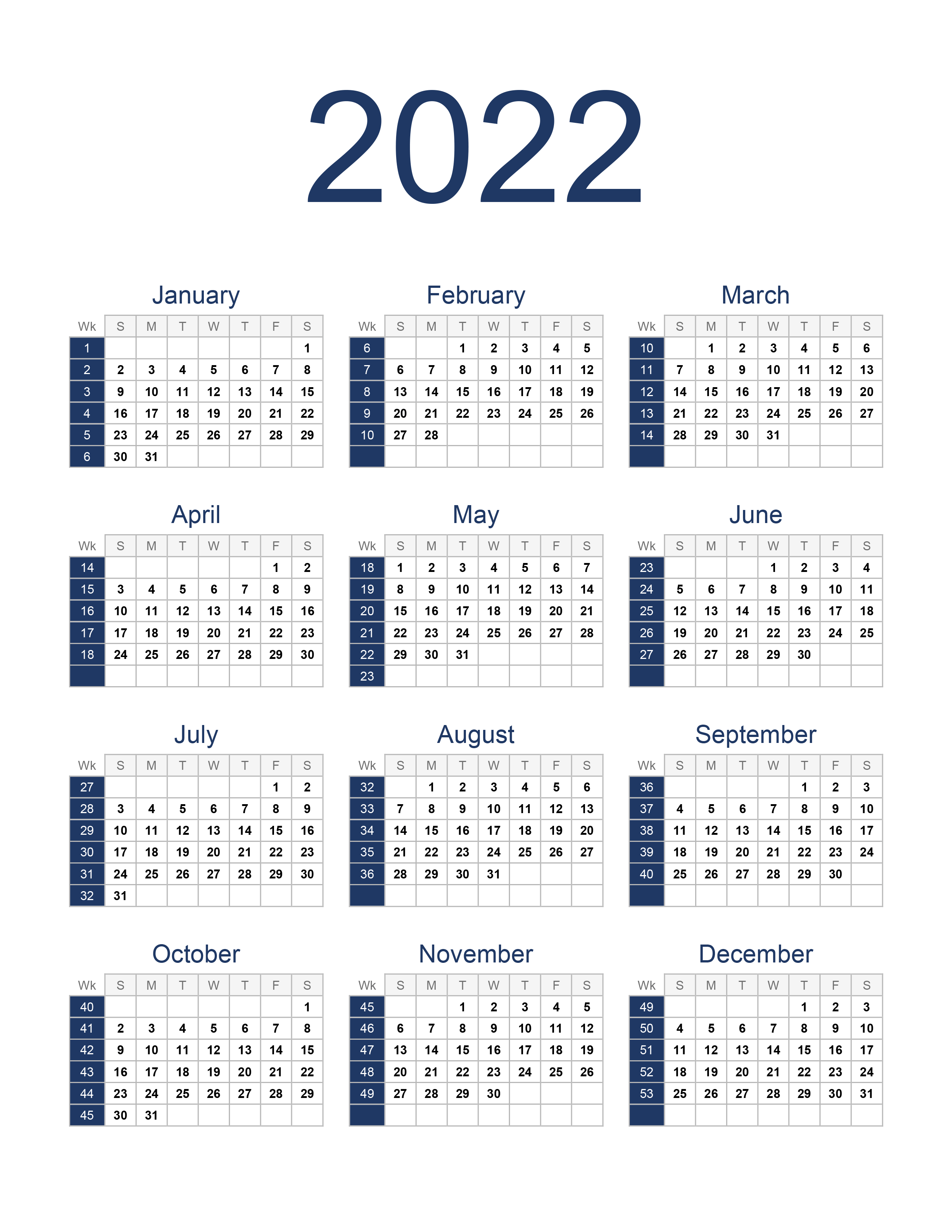 Yearly calendar 2022 - free-calendar.su