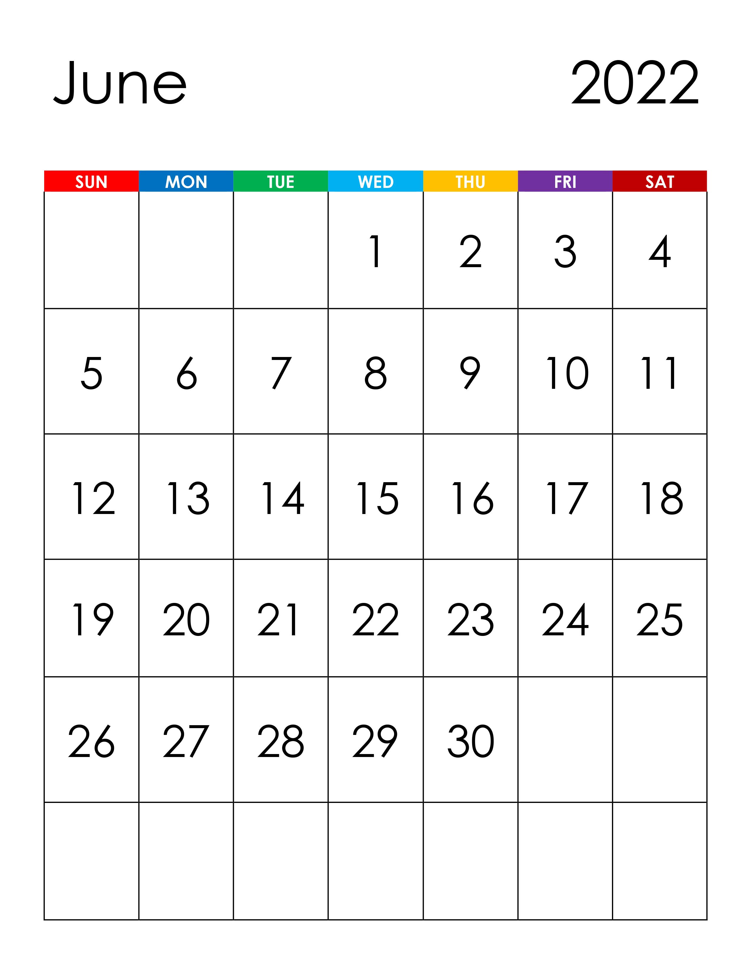 Calendar for June 2022 - free-calendar.su
