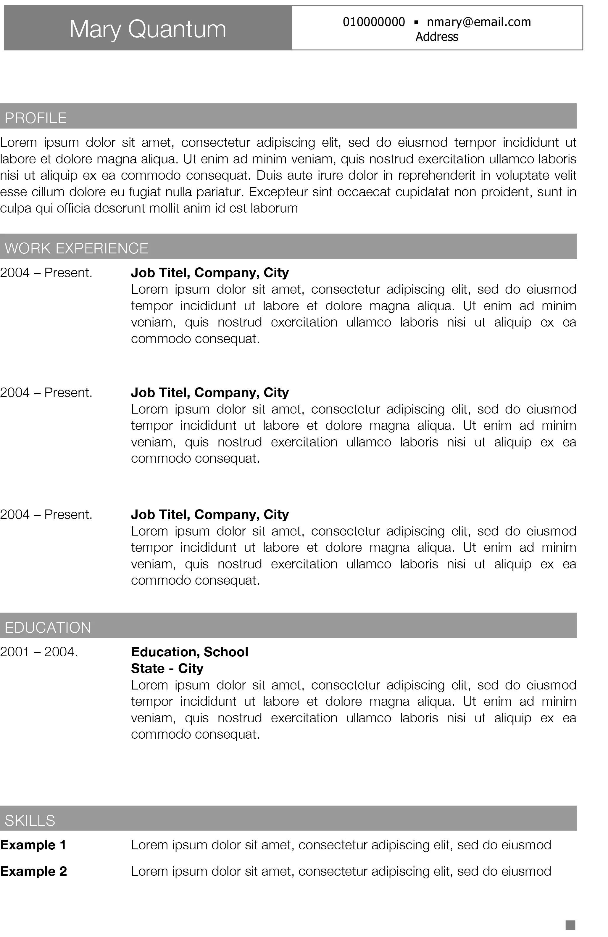modern easy resume