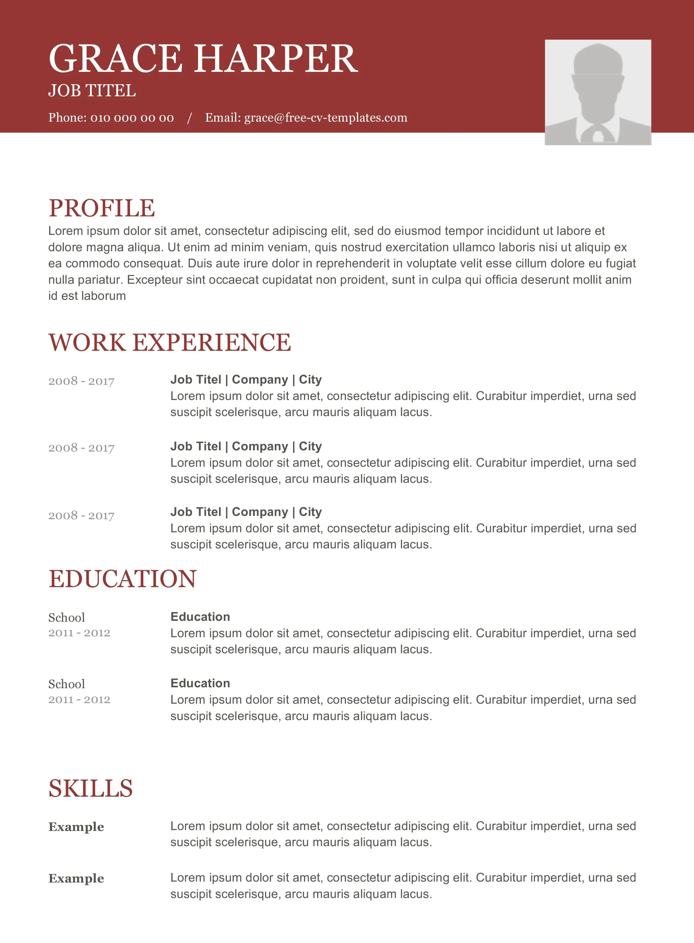 cv template download modern