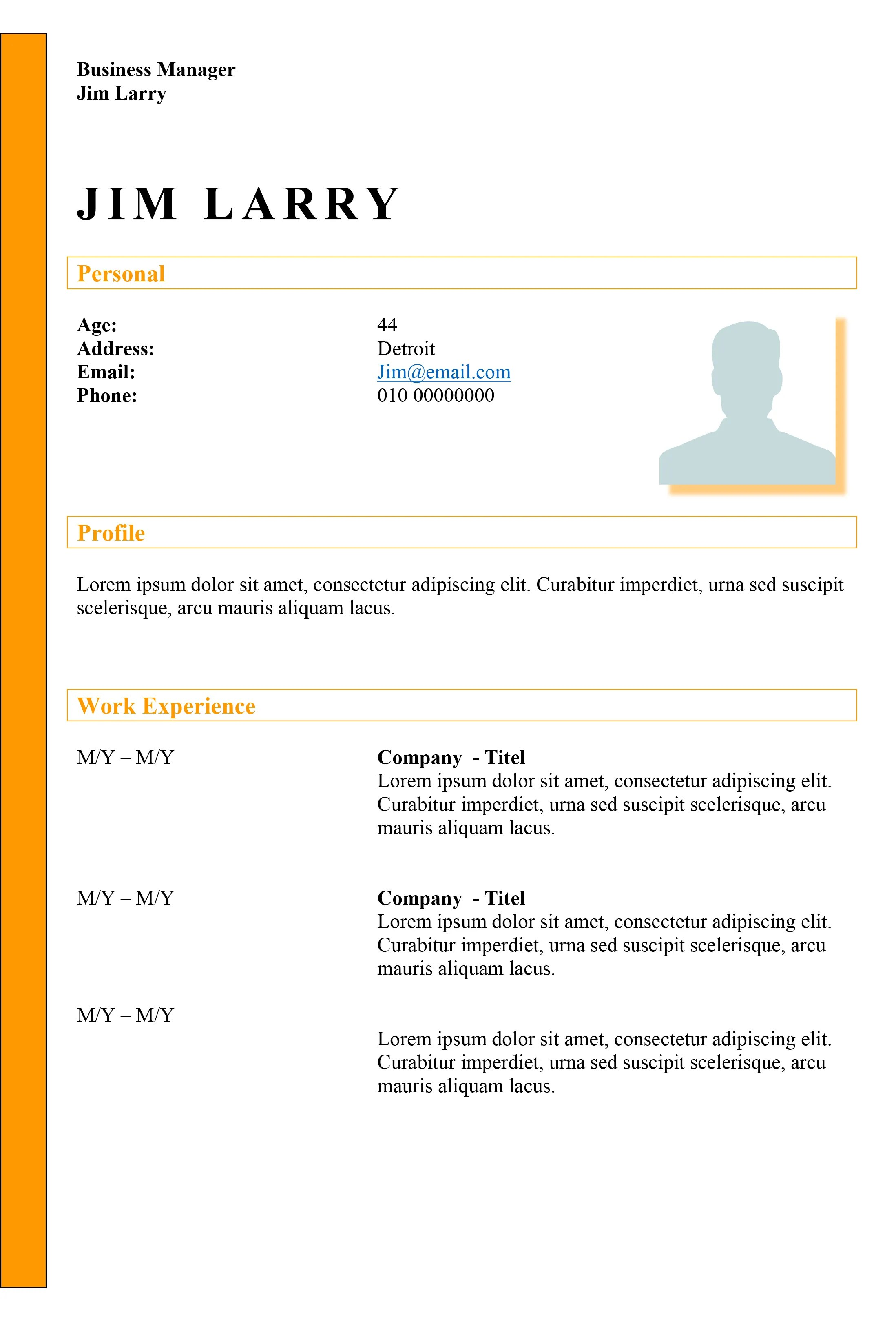 Yellow Line  Dynamic resume template for free