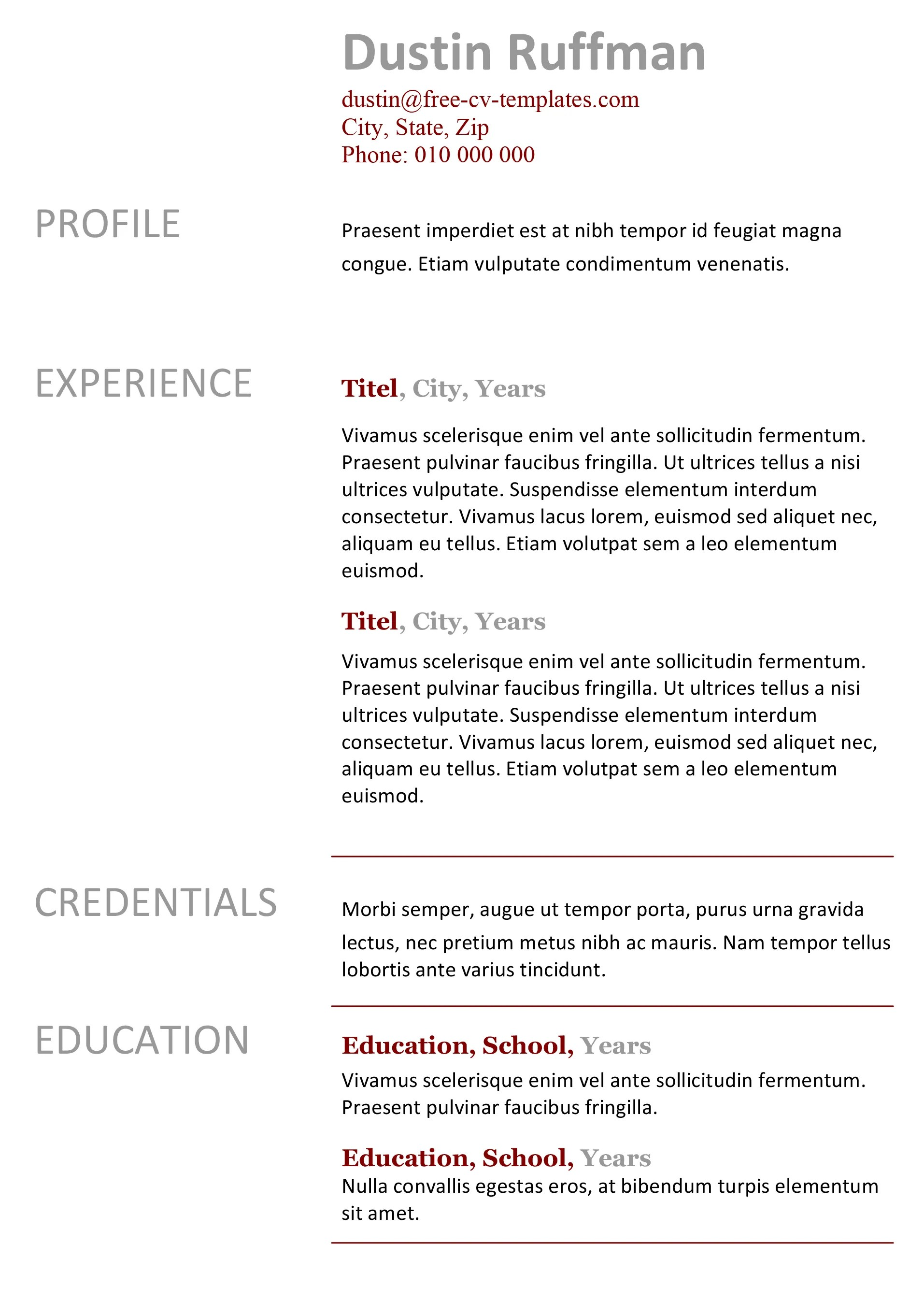 Free Basic Resume Template Easy Peasy Free Resume Template Made In Word