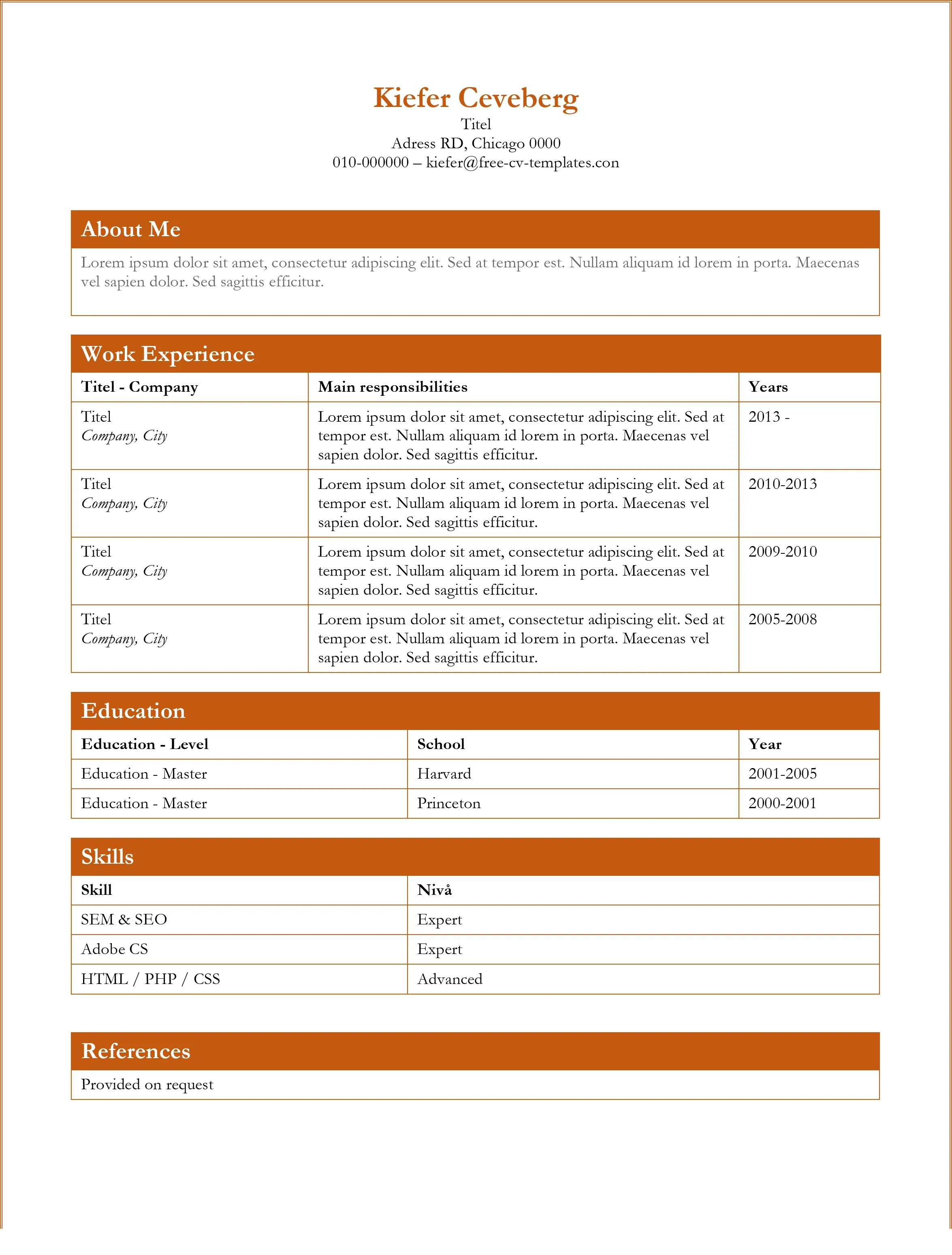 Resume Template In Microsoft Word 2017 Cv And Resume Templates Word Indesign Illustrator Photoshop