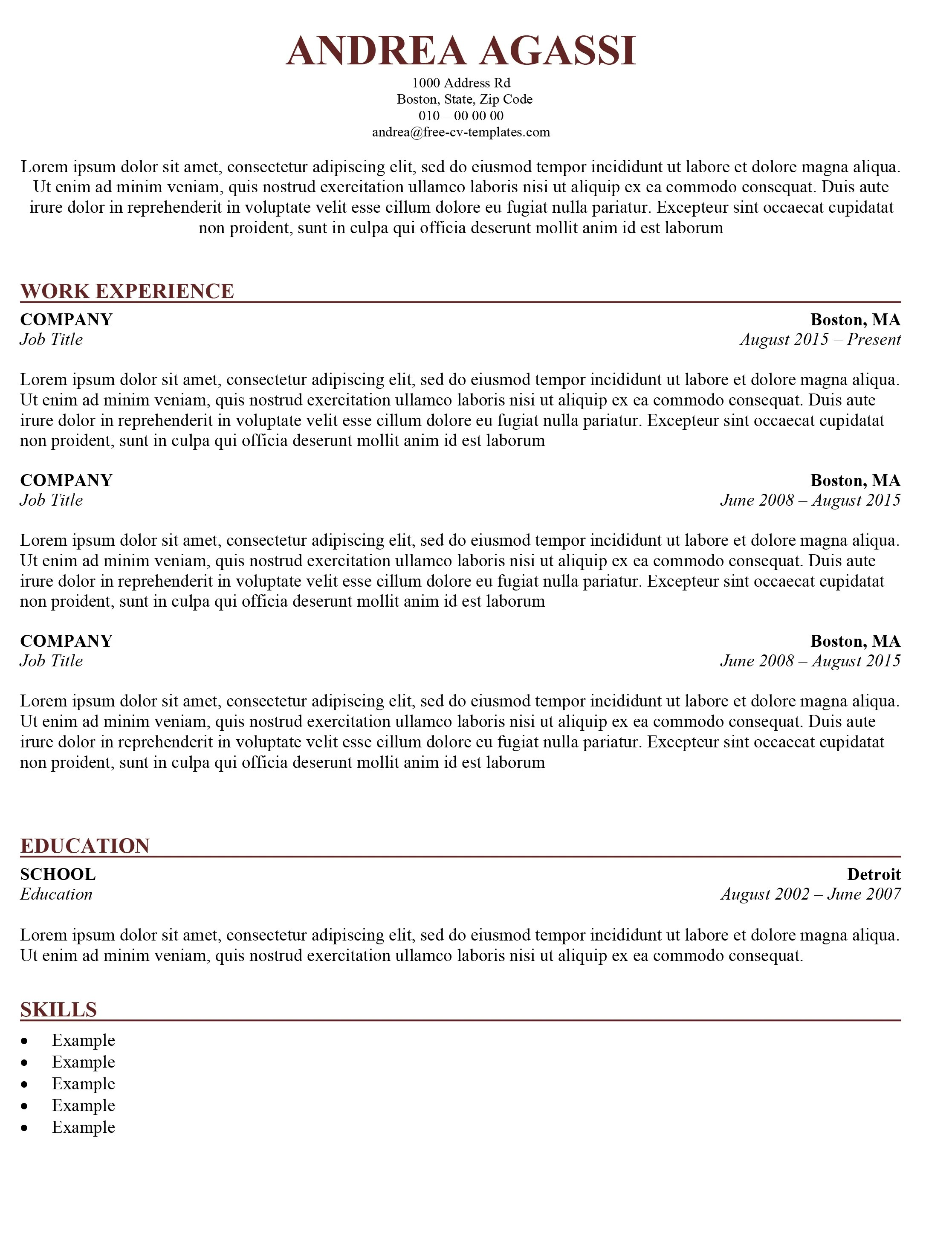 Is Cv The Same As Resume Traditional Cv Template Download The Word Template For Free