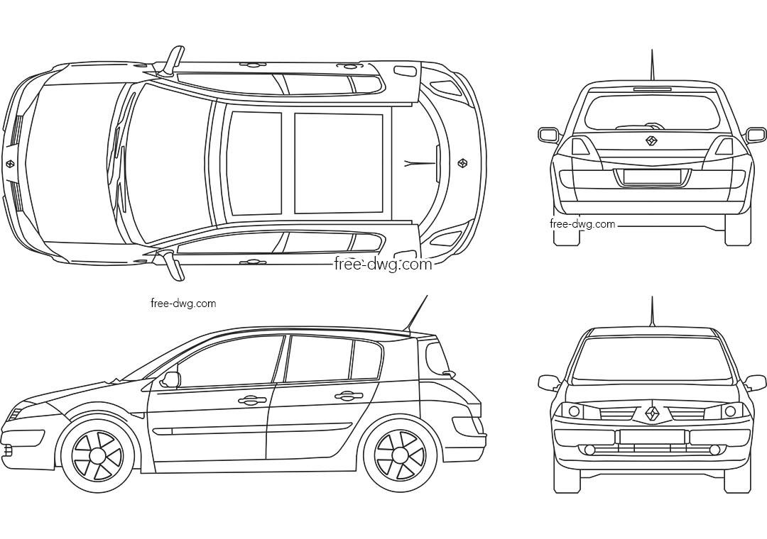 Renault Megane Автокад блоки в ДВЖ формате, скачать чертеж