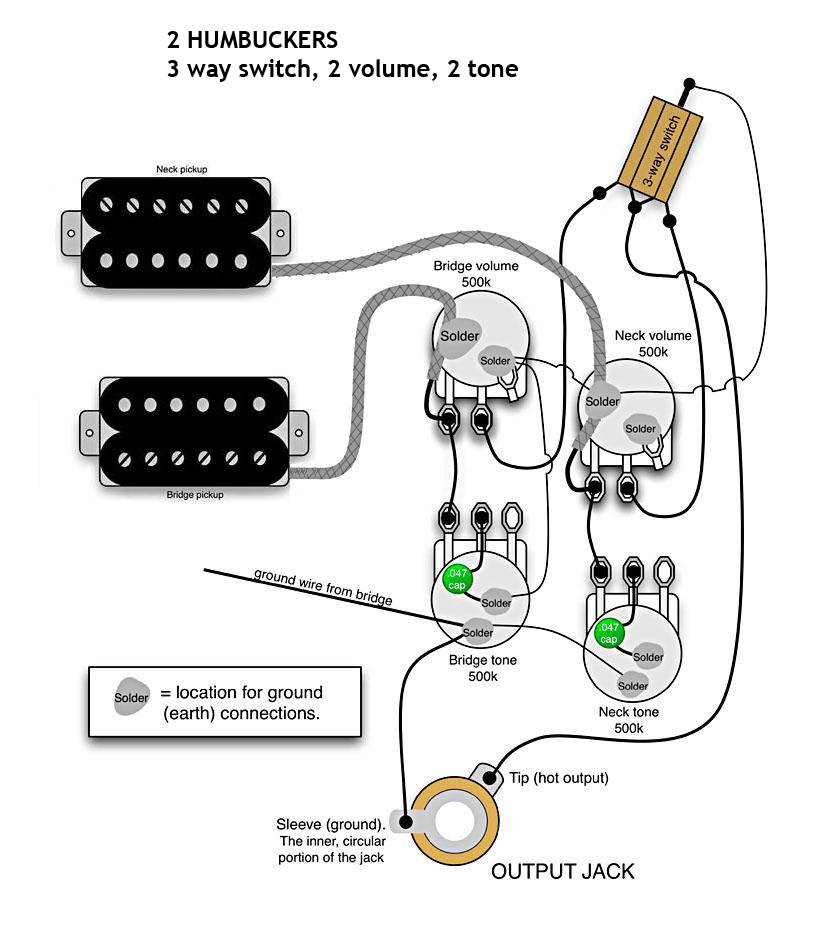 wiring diagram 2 humbucker volume 1 tone guitar wiring diagrams 2 pickups 1 volume 1 tone bmfmguitars